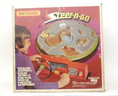 1976 ADVERT Matchbox Toy Steer N Go Race Car Growler Set Flying Colors